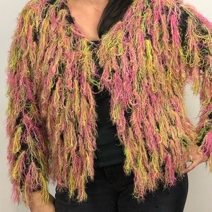 Sweaters - Neon fitted shaggy cropped jacket cardigan sweater